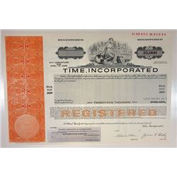Time Inc., 1979 $25,000 Registered 9 3/8% Specimen Bond, XF SCUSBNC-Orange