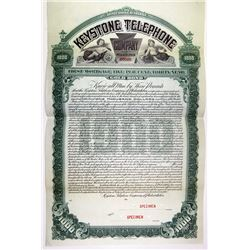 Keystone Telephone Co. of Philadelphia, 1905 Specimen 5% Gold Coupon Bond