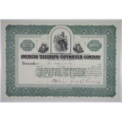 American Telegraph-Typewriter Co. 1918 I/U Stock Certificate