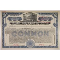 Jones Brothers Tea Co. 1917 Specimen Stock Certificate
