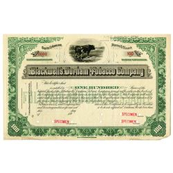 Blackwell's Durham Tobacco Co. 1890's Specimen Stock Certificate