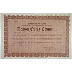 Boston Opera Co. 1910 I/U Stock Certificate