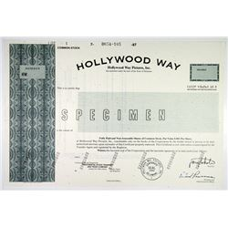 Hollywood Way Pictures, Inc., 1987 Specimen Stock Certificate