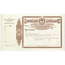 Argentine Great Western Railway Co. Ltd. 1899 Specimen Stock Certificate.