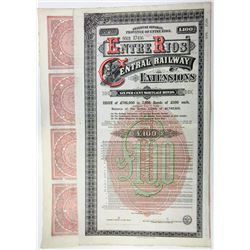 Entre Rios Central Railway Extensions, 1887 Specimen bond.