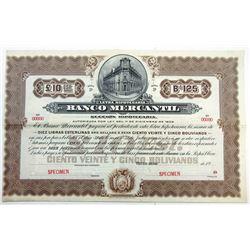 Banco Mercantil, 1903 Specimen Bond