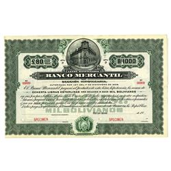 Banco Mercantil, ca.1910-1920 Specimen Bond