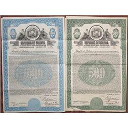 Republic of Bolivia, 1928 I/U 7% Gold Coupon Bond Pair.