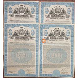 Republic of Bolivia, 1928 I/U 7% Gold Coupon Bond Quartet
