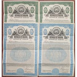 Republic of Bolivia, 1928 I/U 7% Gold Coupon Bond Quartet