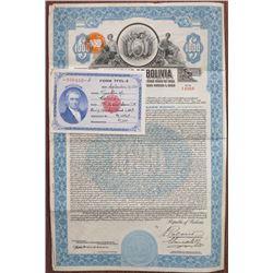 Republic of Bolivia, 1928 I/U 7% Gold Coupon Bond With TFEL Form