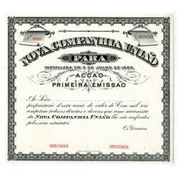 Nova Companhia Uniao ND, (1880-1890's) Specimen Stock Certificate