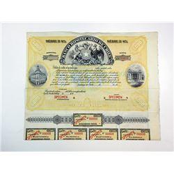 Banco Hipotecario de Chile, 1900-20's Specimen Bond