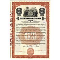 Republica de Cuba, 1915 Specimen Bond.