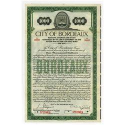 City of Bordeaux, 1919 Specimen Gold Bond.