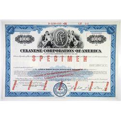 Celanese Corp. of America 1975 Specimen 4% Register Bond VF ABNC