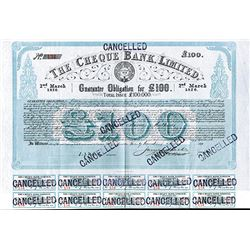 Cheque Bank Ltd. 1876 I/C Bond.