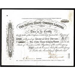 Native Guano Co. Ltd., 1872 I/U Share Certificate.