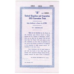 United Kingdom and Argentine 1933 Specimen Convention Trust Certificate