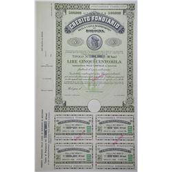 Credito Fondiario Della Cassa di Risparmio in Bologna ND (ca.1950-60's) Specimen Bond