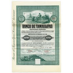 Banco De Tamaulipas S. A. 1907 Share Specimen.