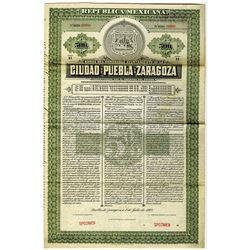 Ciudad de Puebla de Zaragoza City Bond. 1907 Specimen Bond.