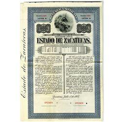 Estado de Zacatecas, 1907 Specimen Bond.