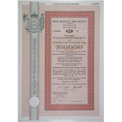 Her Majesty the Queen in Right of New Zealand 1980 German 100,000 DM Issue Specimen Bond