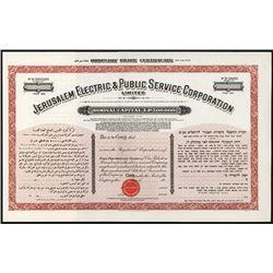 Jerusalem Electric & Public Services Corporation 1920's Specimen Stock Certificate.