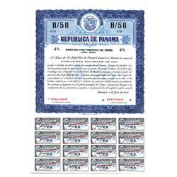 Republica de Panama, Bono De Conversion De 1950 Specimen Bond.