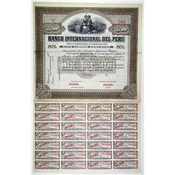 Banco Internacional del Peru, 1900-10 Specimen Lp100 8% Coupon Bond VF ABN