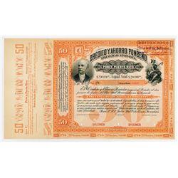 Credito y Ahorro Ponceno Sociedad Anonima 1893 Specimen Bond.
