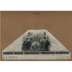 Porto Rican-American Tobacco Company 1910-30 Proof Stock Certificate Vignette.
