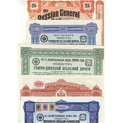 Imperial Russian Government, 1898-1913, Set of Railroad and Oil Bonds