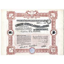 Compagnie Generale D'Omnibus et D'Autobus de Constantinople, 1910 I/U Share Certificate.