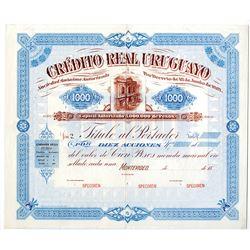 Cr_dito Real Uruguayo, 1887 Specimen Share Certificate