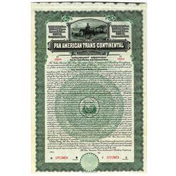 Pan American Trans-Continental Railway Co. 1910 Specimen Bond.