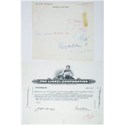 Lionel Corporation. 1960 Progress Proof Stock Certificate With Signature of the C.O.B.