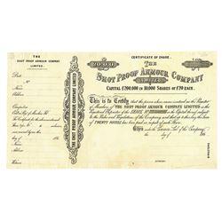 Shot Proof Armour Co., ca.1860-1870 Specimen/Proof Stock Certificate