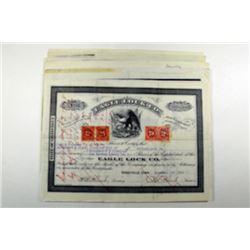 Eagle Lock Co., 1890's-1920's Stock Certificate Assortment