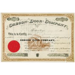 Oregon Door Co., 1885 I/U Stock Certificate