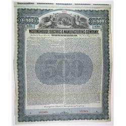 Westinghouse Electric & Manufacturing Co. 1907 Specimen Bond