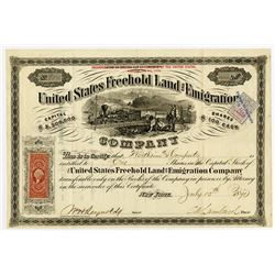United States Freehold Land and Emigration Co., 1871 I/U Stock Certificate