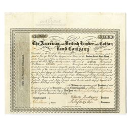 American and British Timber and Cotton Land Co. 1851 Bond