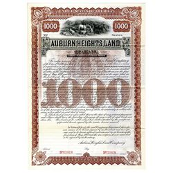 Auburn Heights Land Co., 1892 Specimen Bond