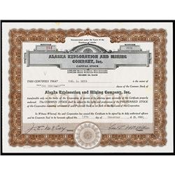 Alaska Exploration and Mining Co., 1935 I/U Stock Certificate.