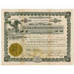 Alaska-Homestake Mining Co., 1917 I/U Stock Certificate.