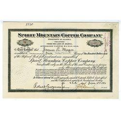 Spirit Mountain Copper Co. (property in Alaska) 1911 Stock Certificate