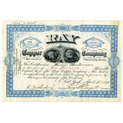 Ray Copper Co. 1887 I/U Stock Certificate