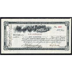 Albany Gold Mining Co. 1892 I/U Stock Certificate